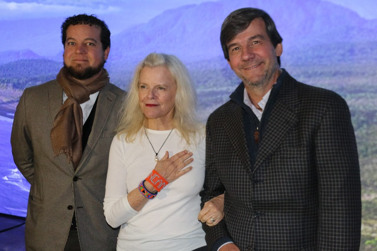 From left to right: Eugenio Rengifo, executive director of Amigos de los Parques; Amigos founder Kris Tompkins; and president of Amigos, Rodrigo Jordan.