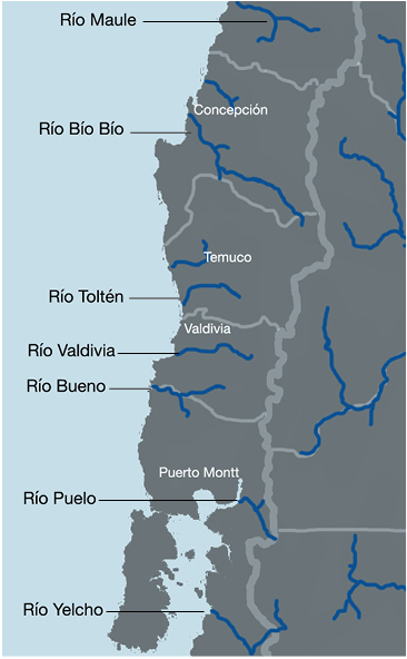 Map: Six watersheds being prioritized by Chile's energy ministry for hydroelectric development.