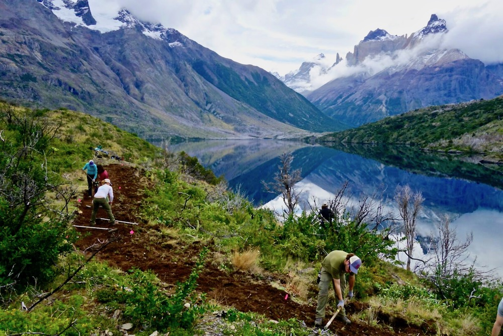 Torres del Paine Legacy Fund volunteers hard at work on a new trail. Photo: Eric Lee