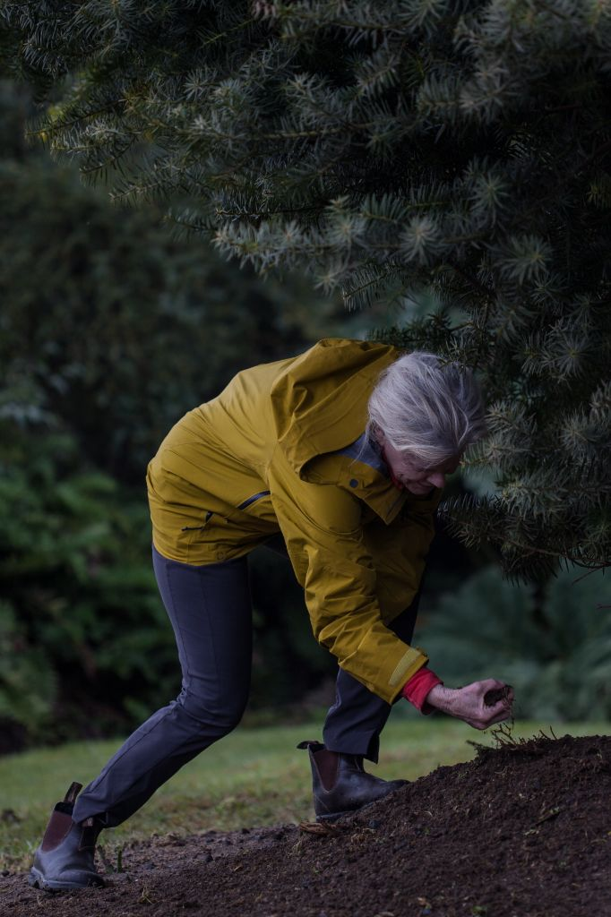 With her hands, Kris Tompkins gathered some water, soil, stones, blades of grass and moss, and pieces of wood that for thousands of years have been in Pumalin Douglas Tompkins National Park. Photo: Amigos de los Parques