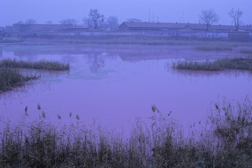 Contaminación de una fábrica, Río Amarillo, China